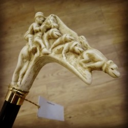 Walking stick with handle fox hunting imitation ivory