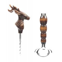 Cavatappi animato apribottiglie doppia funzione sughero e corona da casa e ristorante con cervo BCVDF_004